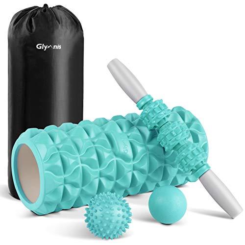 Glymnis Foam Roller Kit 4 in 1 - Rullo in Schiuma Rullo Massaggio Muscolare Pallina Massaggiante Bastone Massaggio per Stretching Yoga Pilates Fisioterapia Rilascio Miofasciale Massaggio (Menta Verde)