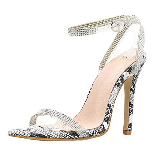 Yaoni ??Frauen-Dame-Gesellschaf Sexy Sandalen Stiletto Pumps, Schlangenleder Peep Toe High Heels Breite Breite Kleid-Schuhe (Color : Gray, Size : 38 EU)