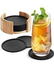 Sidorenko Siliconen Onderzetter rond voor Glazen - set van 8 Inkt. Doos - Design glazen onderzetters in donkergrijs voor dranken, bekers, bar, glas - Tafelonderzetters siliconen onderzetters