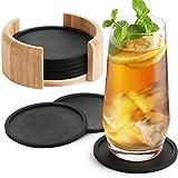 Sidorenko Silikon Untersetzer rund für Gläser - 8er Set Ink. Box - Design Glasuntersetzer in schwarz für Getränke, Tassen, Bar, Glas - Tischuntersetzer Silikonuntersetzer