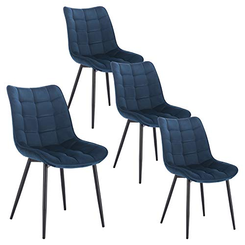 WOLTU 4 x Esszimmerstühle 4er Set Esszimmerstuhl Küchenstuhl Polsterstuhl Design Stuhl mit Rückenlehne, mit Sitzfläche aus Samt, Gestell aus Metall, Blau, BH142bl-4