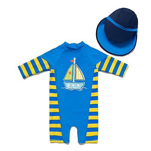 upandfast Kids One Piece Zip Sunsuit with Sun Hat UPF 50+ Sun Protection Baby Beach Swimsuit (Sailboat, 6-9 Months)