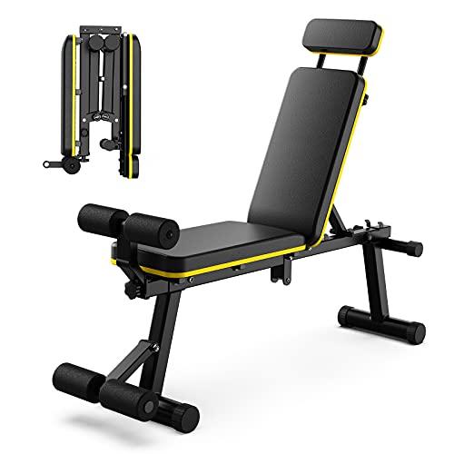 Panca Palestra Regolabile Pieghevole, Panca Pesi Panca manubri, Portata Fino a 200 kg, per allenamento di forza a casa