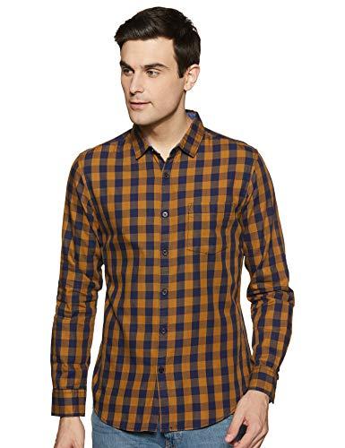 Amazon Brand – Symbol Men's Checkered Regular Casual Shirt (SS20AZ-SY-RR-03E_Mustard M)