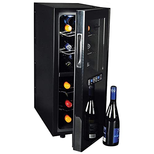Koolatron WC12DZ, Dual Zone Thermoelectric Cooler 12 Bottle Capacity with Digital Temperature Controls-Wine Cellar with Quiet Cooling Power and 4 Removable Shelves, Black/Silver