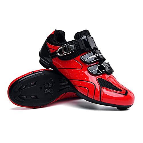 Lixada Chaussures de Cyclisme de Vélo de Route pour Hommes avec Semelle en Carbone Respirantes Professionnelles Antidérapantes Rigides Légères Rouge/Vert/Bleu/Gris