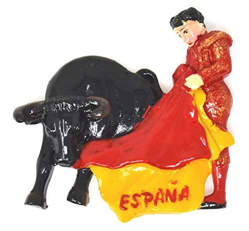 SP1 España Torero Imán de refrigerador Etiqueta magnética España Diseño aleatorio Imán de refrigerador Toro español Imán de nevera 3D Insignia magnética Toros Imán de nevera español