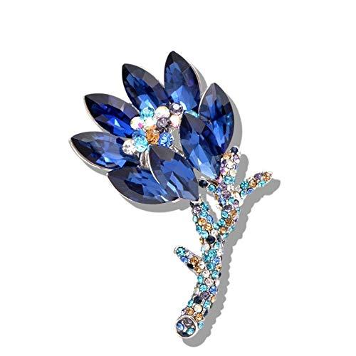 U/N Broche de Flor de Cristal de Color Azul Broches de Ramo de Boda Pin Vestido de Verano