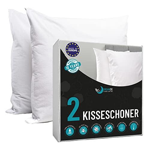 Dreamzie - Kissenbezug Wasserdichter 80 x 80 cm - 100prozent Baumwolle Stoff - Oeko Tex® Zertifiziert - 2 Stück Kissenschoner mit Reißverschluss - Atmungsaktiv, Hypoallergen, Anti-Milben, Antibakteriell