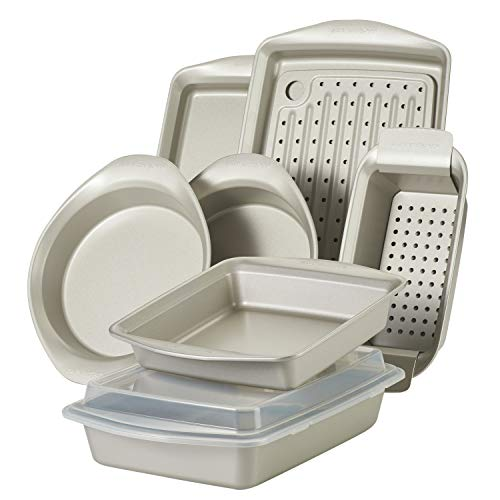 Rachael Ray 47682 Nonstick Bakeware Set without Grips includes Nonstick Bread Pan, Baking Pans, Cake Pans, Cookie Sheet / Baking Sheet - 10 Piece, Silver