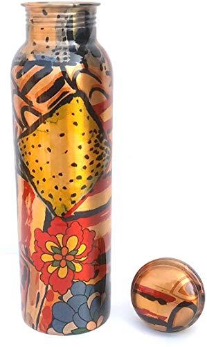 Cobre Ayurveda | Botella de Agua Impresa en Cobre Puro de Cobre | Botella de Cobre de diseño de 1 litro, a Prueba de Fugas, sin Juntas, sin Juntas | Capacidad-1000 ml | Botella de Agua