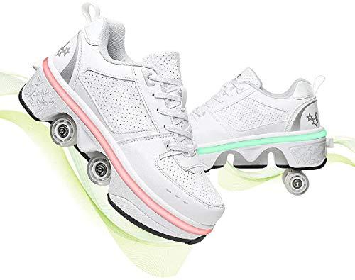 XRDSHY Rodillos Girl Quad Roller Patines Ladies Skate Scooter, 2 En 1 - Skate Shoes Zapatos Deportivos Zapatos De Deformación Multifuncionales,White-41