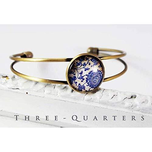 Armband, Armreif mit Blumen, Ornamente, nostalgisch, blau, natur