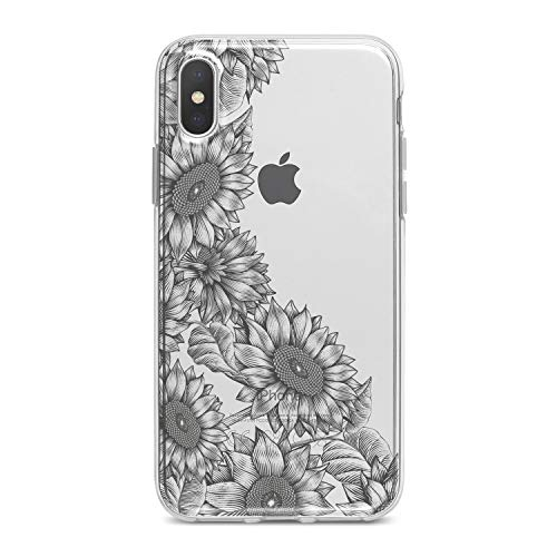 Lex Altern TPU Case for iPhone Apple Xs Max Xr 10 X 8+ 7 6s 6 SE 5s 5 Sunflowers Graphic Cover Black Print Soft Gray Elegant Gift Smooth Beautiful Lightweight Summer Flexible Slim fit Design Clear