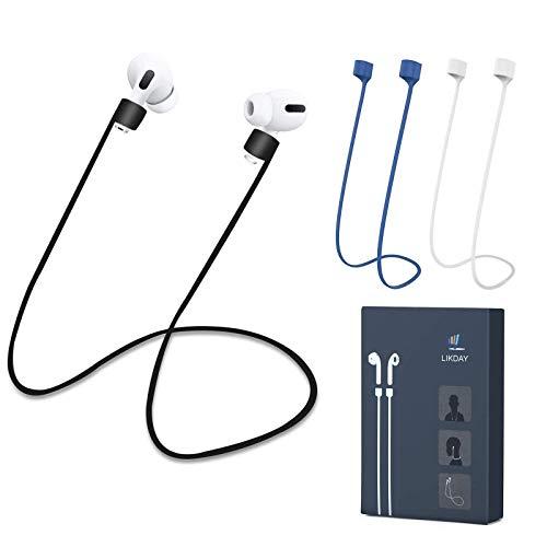 LIKDAY Airpods Strap Compatible pour AirPods 1 et 2/3 Pro, Sangle de Maintien pour AirPods en Silicone Souple - Parfaite pour accrocher Les écouteurs Autour de Votre Cou (Bleu + Blanc + Noir)