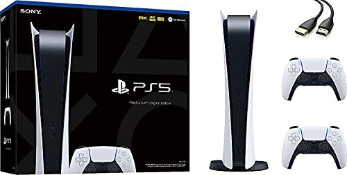 Ps5 playstation 5 digital edition console - 4k-tv gaming, ultra-high speed ssd, wi-fi 6 (ieee 802. 11ax), 16gb gddr6 ram, 825gb ssd, bluetooth 5. 0, 120hz 8k output, additional controller - u deal hdmi