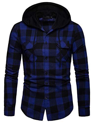 WHATLEES Camisa de franela a cuadros para hombre, con capucha, a cuadros