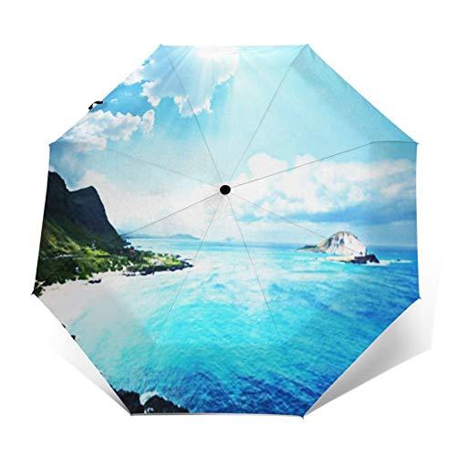Paraguas Plegable Automático Impermeable Playa Isla Montaña, Paraguas De Viaje Compacto a Prueba De Viento, Folding Umbrella, Dosel Reforzado, Mango Ergonómico