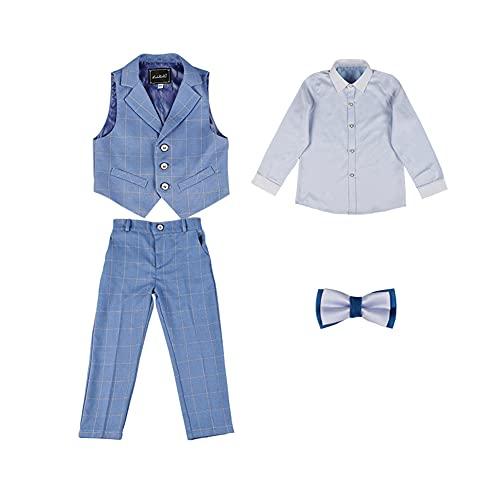HONGBI Traje Conjunto de Bebés Niños para Bautizo Comunión,Elegante Traje Formal de Fiesta Bodas,Traje Ceremonia Niño,Conjuntos de Top y Pantalónes Camisa Chaleco para Traje para Niño 2-12 años