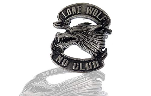 Pin • Lone Wolf no Club • Badge • Free-Biker • Wolf Pack Pewter