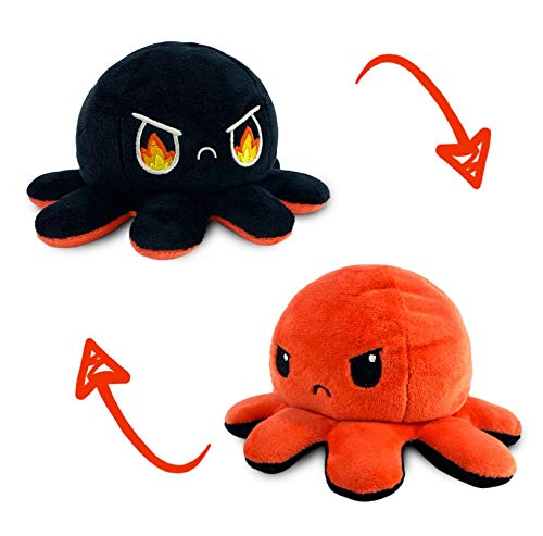 TeeTurtle | The Moody Reversible Octopus Plushie | Patented Design | Sensory Fidget Toy for Stress Relief | Red + Black | Angry + Rage | Show Your Mood Without Saying a Word!