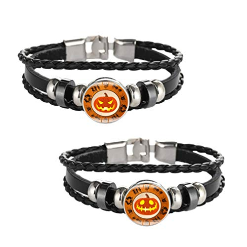 Amosfun 2 pulseras de piel de Halloween de la marca de calabaza, cabujón, pulsera envolvente, regalo para hombres, mujeres, niños (estilo aleatorio)