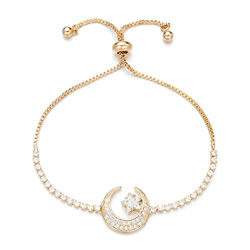 Yushitong Moon and Star Expandable Brass with Sparkling Cubic Zirconia Adjustable Bracelet for Women and Girls (Gold)