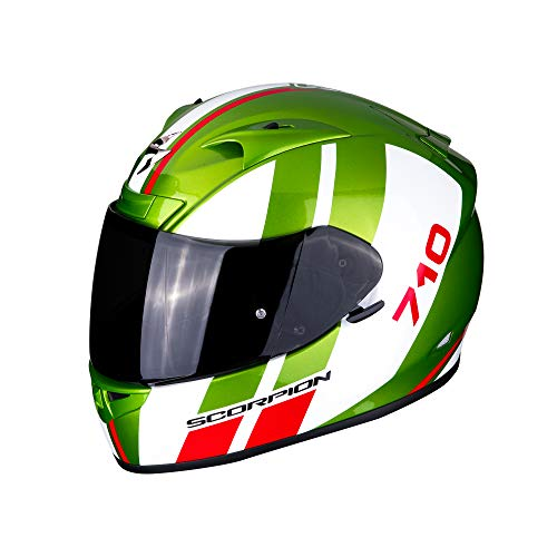 SCORPION Casque moto EXO-710 AIR GT Green-White-Red, Vert/Blanc/Rouge, XL