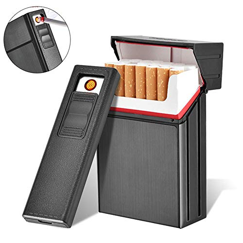 AUOKER Caja Cigarrillos con Encendedor Electrico, USB Separable Recargable Pitillera Metálica Caso...