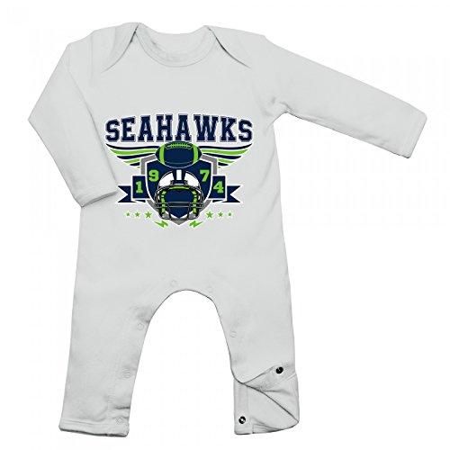 Shirt Happenz Seahawks Babybody 1974 Super Bowl American Football Langarm Langärmliger Strampler, Farbe:Weiß (White BZ13);Größe:3-6 Monate