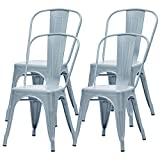 Bespivet Set of 4 Metal Dining Chairs Patio Chairs Kitchen Metal Chairs 18 Inch Seat Height Chic Dining Bistro Cafe Side Metal Chairs Home Office Kitchen Garden Chair Without Table(Grey, Set of 4)