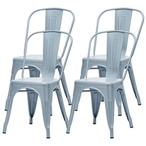 Hironpal Metal Garden Dining Chair Set of 4 Industrial Vintage Stackable Kitchen Tolix Chair Gun Metal High Back for Bistro Restaurant Wedding Cafe Patio Outdoor and Indoor
