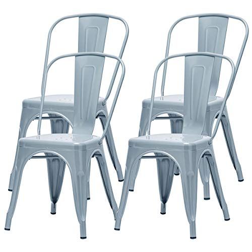 Metal Dining Chair Set of 4, Stackable Garden Chair Tolix Industrial Vintage Chair, Stylish Sturdy Chair for Home Bistro Restaurant Wedding (Grey 4pc)
