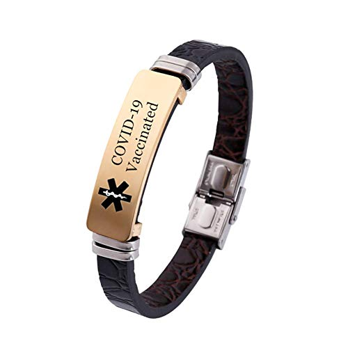 Personalized COVID-19 Vaccinated Leather Bracelet Stainless Steel 18K Gold Plated Medical Vaccination Shot Alert ID Bangle Women Men's Vaccines Injection Notification Jewelry Reminder,Customized