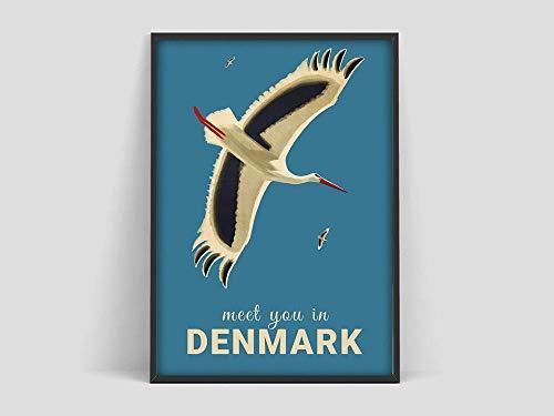 HJGB Danish design poster,Vintage danish print,scandinavian poster,Meet you in Denmark poster,frameless canvas painting H 60x80cm