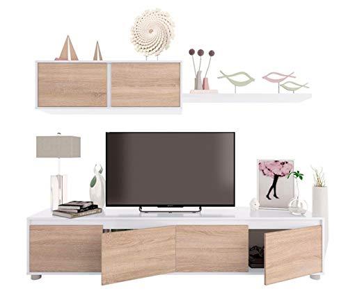 PEGANE Ensemble TV en Panneaux de Particules Blanc et Imitation chêne
