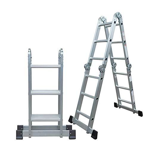 LIYONG Escalera Plegable de Aluminio Escalera multifunción Conveniente Escalera telescópica Proyecto Escalera Recta, elevación Pabellón Escalera, Escalera Recta 3.37m / 0,92 M Plegable