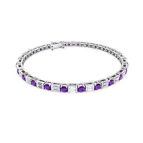 Pulsera de oro de tenis de amatista de 2,5 ct, 2,5 ct, certificado SGL, con forma de diamante de baguette, pulsera de boda con piedras preciosas, pulsera para mujer,18K Oro rosa 7 Inches