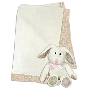 Stephan Baby Gift-to-Go Ultra Soft Fleece Blanket and Plush Toy Set, Pretty in Paisley Bunny