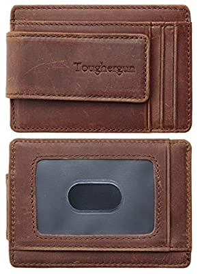 Toughergun Genuine Leather Magnetic Front Pocket Money Clip Wallet RFID Blocking (Crazy Horse Deep Brown)