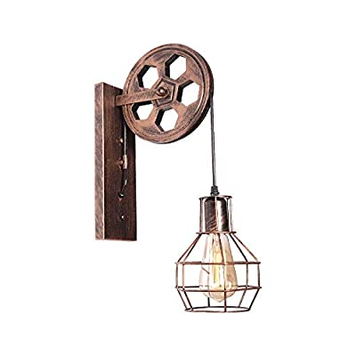 SaiPIS 1-Light Wall Sconce Rustic Hallway Light Fixture Industrial Lighting Lift Pulley Lamp with Matte Iron Cage for Indoor Lighting Barn Farmhouse Kitchen Over Sink