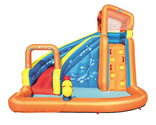 Bestway H2OGO! Turbo Splash Inflatable Mega Bouncy Castle Water Park for Kids with Water Slide, Water Gun, Climbing Wall and Pool Area, Multi-Colour