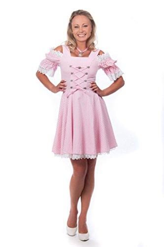 Edelnice Trachtenmode Mini Dirndl rosa weiß kariert schulterfrei Gr 34