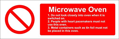 Hygiene catering Microwave Oven safety sign - Self adhesive sticker 150mm x 50mm