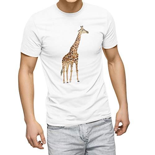 igsticker プリント Tシャツ メンズ L size おしゃれ クルーネック 白 ホワイト t-shirt 015867 キリン 動物 アニマル