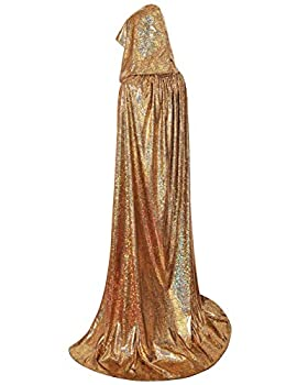 GRACIN Unisex Halloween Christmas Hooded Cloak Full Length Shiny Snake Skin Costume Mardi Gras Party Cape  63  Gold Laser