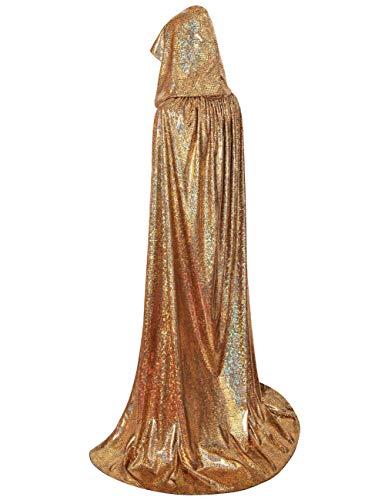 "GRACIN Unisex Halloween Christmas Hooded Cloak, Full Length Shiny Snake Skin Costume Mardi Gras Party Cape (55"", Gold Laser)"