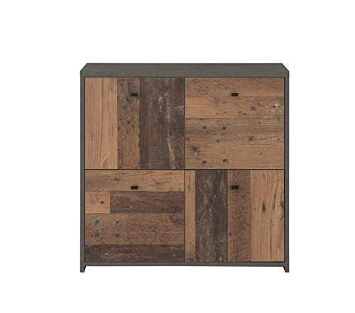 Forte Cómoda con Cuatro Puertas en Moderna combinación de Colores Old-Wood Vintage Combinado con Aspecto de hormigón, Tabla de Madera aglomerada, 77,2 cm x 77,5 cm x 29,6 cm