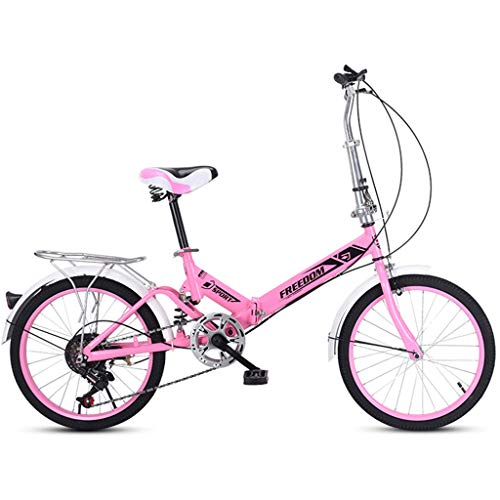Heizlüfter 20 Inch Lightweight Mini Folding Bike Small Portable Bicycle Adult Student, Three Colors (Color : Pink)