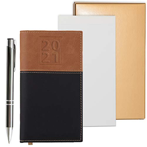 2021 Weekly Pocket Calendar Organizer | Business Polished Chrome Trim Pen | Pure White Notepad | All in a Gold Gift Box (2021)
